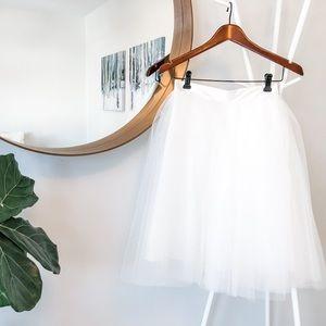 """White Tulle Skirt - 22"""" Length"""